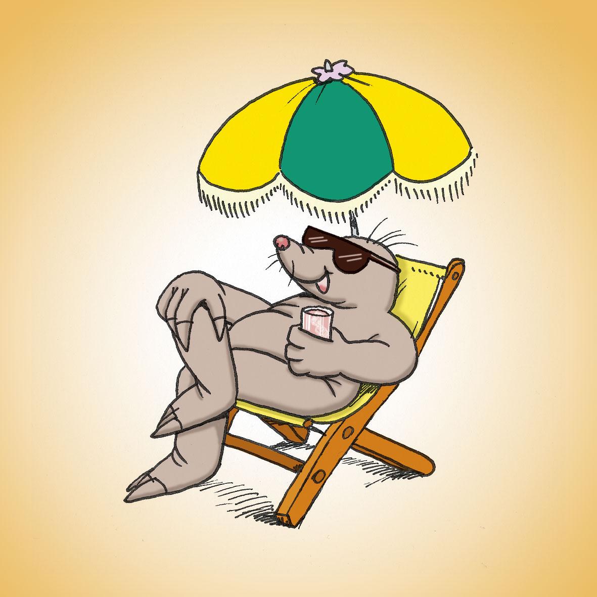 Maulwurf im Liegestuhl unterm Sonnenschirm